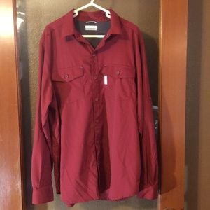 Columbia Dark red button  roll up sleeve shirt